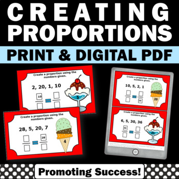 Proportions Task Cards, 6th Grade Math Centers, Fraction Games SCOOT