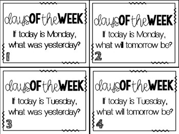 Math Task Cards:  Days of the Week