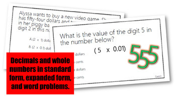 Math STAAR Task Cards Decimals and Fractions