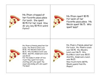 Math Task Cards:  Decimals through Hundredths