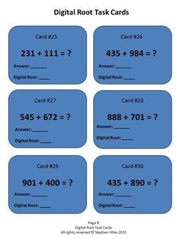 Digital Root Task Cards