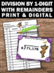 Division Task Cards, Dividing by 1 Digit, 4th Grade Math Review Games