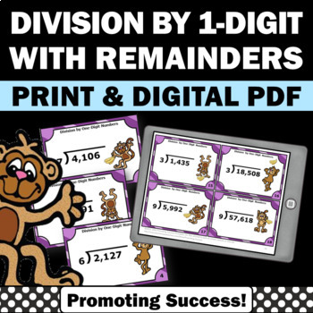 Division Task Cards 4-5 Digit by 1 Digit Math Games 4th 5th Grade