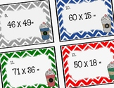 Math Task Cards: Double Digit Multiplication (Peppermint Mocha)