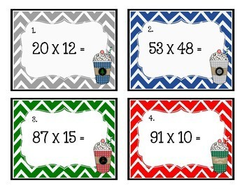 Math Task Cards: Double Digit Multiplication (Peppermint Mocha)