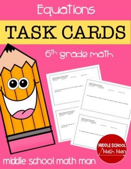 Math Task Cards (Equations) - 6th Grade Math