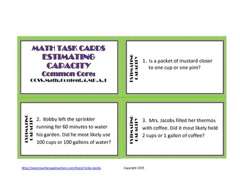Math Task Cards Estimating Capacity