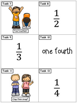 Fractions: Math Task Cards - Exercise Scoot!