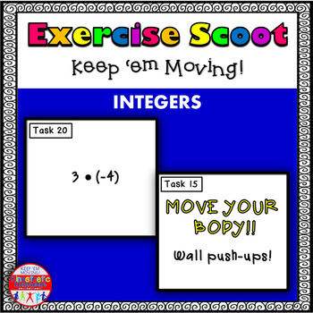Integers: Math Task Cards - Exercise Scoot!