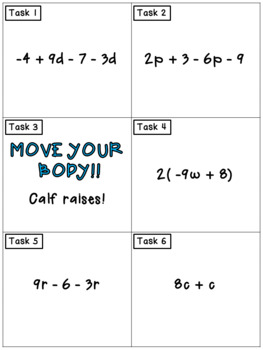 Simplifying Algebraic Expressions: Math Task Cards - Exercise Scoot!