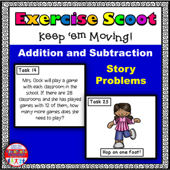 Addition and Subtraction Story Problems: Math Task Cards - Exercise Scoot!