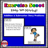 Addition and Subtraction Story Problems Math Task Cards Exercise Scoot