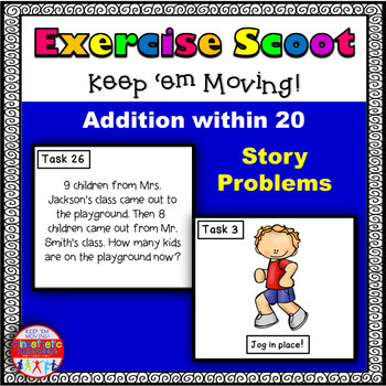 Addition Story Problems Within 20: Math Task Cards - Exercise Scoot!