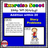 Addition Story Problems Math Task Cards Exercise Scoot