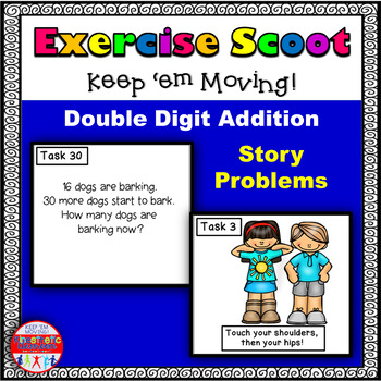 Double Digit Addition Story Problems: Math Task Cards - Exercise Scoot!