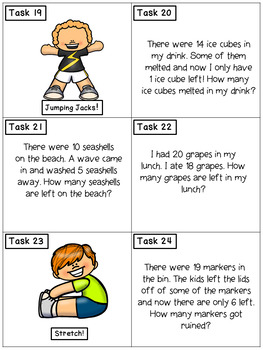 Subtraction Story Problems within 20: Math Task Cards - Exercise Scoot!