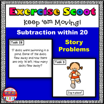 Subtraction Story Problems within 20: Math Task Cards - Ex