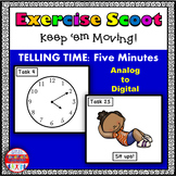 Telling Time 5 Minute Intervals: Math Task Cards - Exercise Scoot!