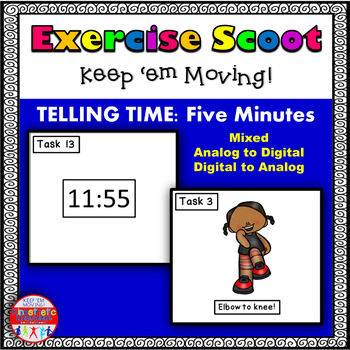 Telling Time 5 Minute Intervals Set 2: Math Task Cards - Exercise Scoot!