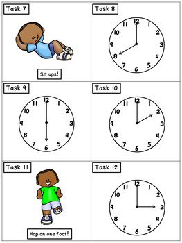 Telling Time to the Hour: Math Task Cards - Exercise Scoot!