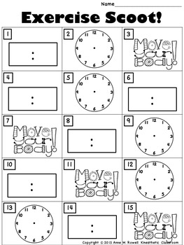 Telling Time to the Hour and Half Hour Set 2: Math Task Cards - Exercise Scoot!