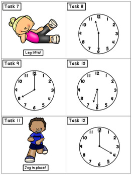 Telling Time to the Hour and Half Hour: Math Task Cards - Exercise Scoot!