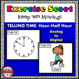 Telling Time to the Hour and Half Hour Math Task Cards Exercise Scoot