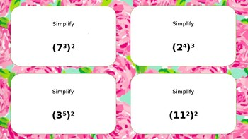 Math Task Cards Exponents