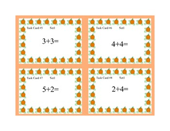 Math Task Cards- Fall Theme -Grades 1-2 Add Subtract within 20