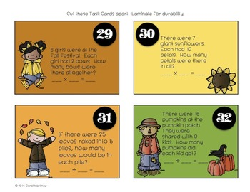 Math Task Cards {Fall Themed Multiplication & Division Review}