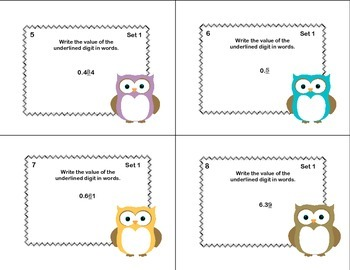 Math Task Cards Fifth Grade Decimal Place Value and Writing Decimals In Words
