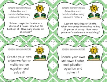 Finding Unknown Factors, Task Cards