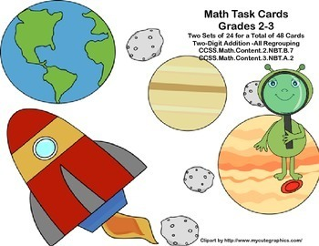 Math Task Cards For Grades 2-3-Out of This World Bundle-Regrouping