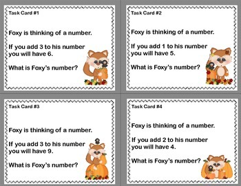 Math Task Cards- Grade 1 CCSS -Foxy is thinking of a number.....
