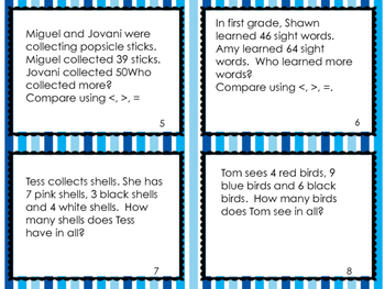 Math Task Cards- Grade 1 (word problems)