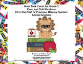 Math Task Cards- Grade 2- Odd  Even Numbers-Fill in the Missing Number Animals