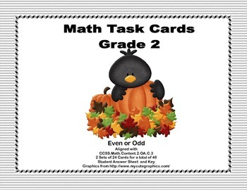 Math Task Cards- Grade 2- Odd and Even Numbers-Crows in the Fall