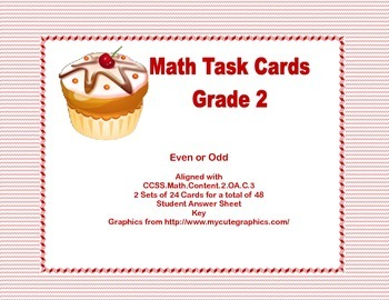 Math Task Cards- Grade 2- Odd and Even Numbers- Cupcake Theme