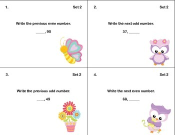 Math Task Cards- Grade 2- Odd and Even Numbers-Fill in the Missing Number