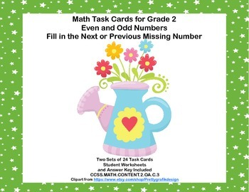 Math Task Cards- Grade 2- Odd and Even Numbers-Fill in the