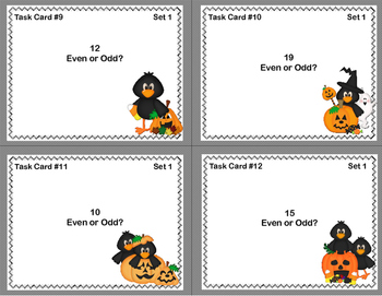 Odd and Even Numbers-Math Task Cards- Grade 2 -Halloween