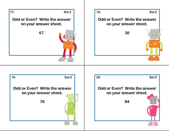 Math Task Cards- Grade 2- Odd and Even Numbers-Robots