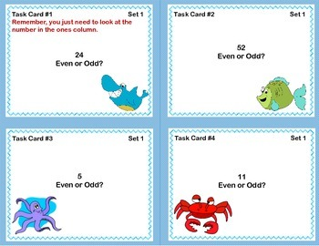 Math Task Cards- Grade 2- Odd and Even Numbers-Under The Sea Theme