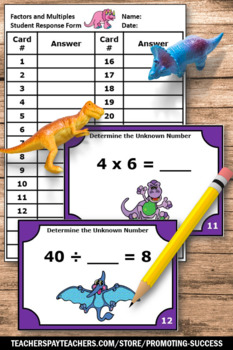 Multiplication and Division Task Cards, Factors and Multiples Game, 3rd Grade