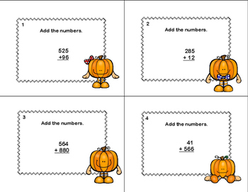 Adding Multi-Digit Numbers CCSS 4.NBT.B.4 Fall-Math Task Cards Grade 4