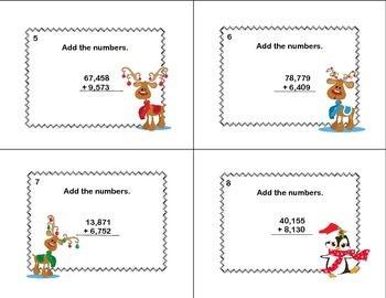 Math Task Cards Grade 4 Adding Multi-Digit Numbers CCSS 4.NBT.B.4  Christmas