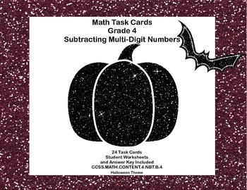 Math Task Cards Grade 4 Subtracting Multi-Digit Numbers CCSS 4.NBT.B.4 Halloween