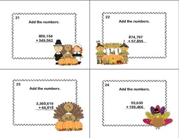 Math Task Cards Grade 4 Adding Multi-Digit Numbers CCSS 4.NBT.B.4   Thanksgiving