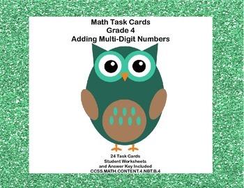 Math Task Cards Grade 4 Adding Multi-Digit Whole Numbers CCSS 4.NBT.B.4