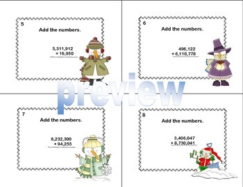 Math Task Cards Grade 4 Adding Multi-Digit Whole Numbers CCSS 4.NBT.B.4 Winter